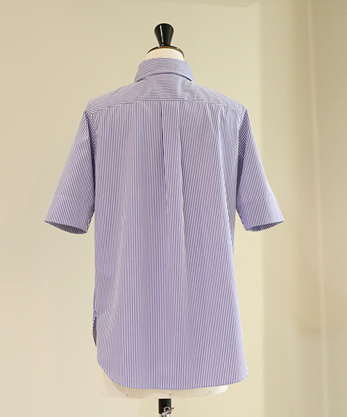 MADISONBLUE/HIGH COLLAR N.MADAME S/S SH STRIPE