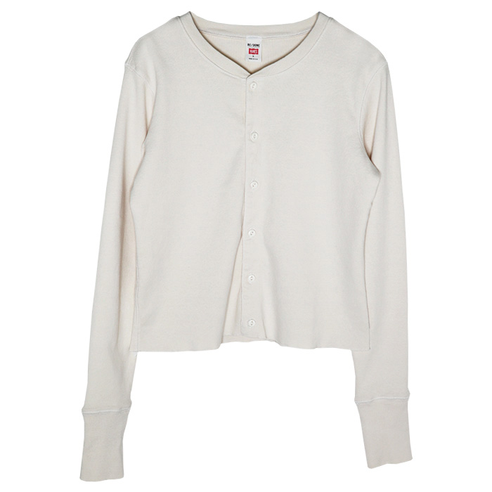 RE/DONE×HANES 50S CROPPED BUTTON LONG SLEEVE