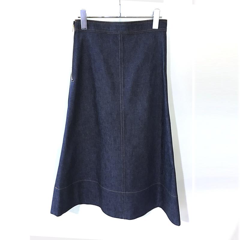 MADISONBLUE/trapeze denim long skirt