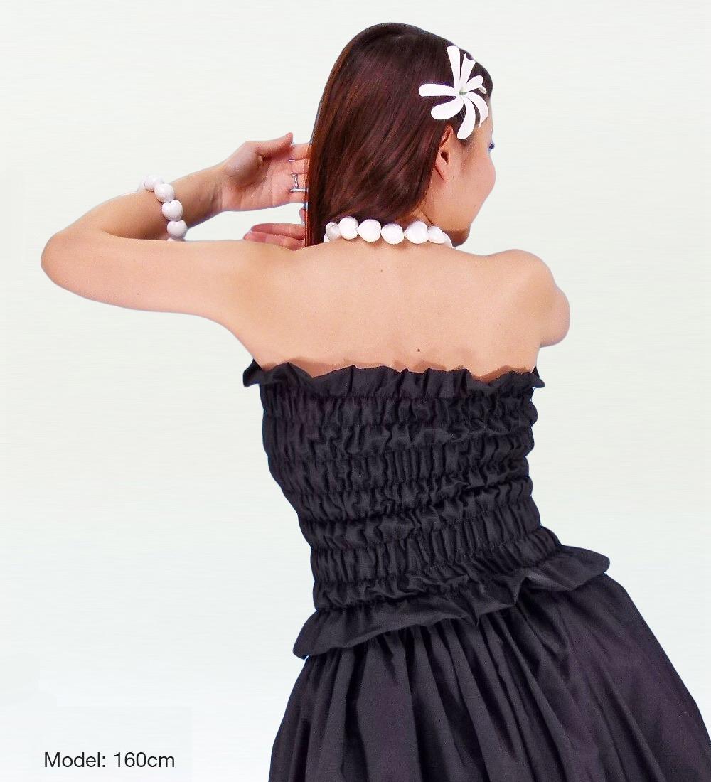 フラダンス パウスカート&チューブトップブラウス セット ブラック 1670bk