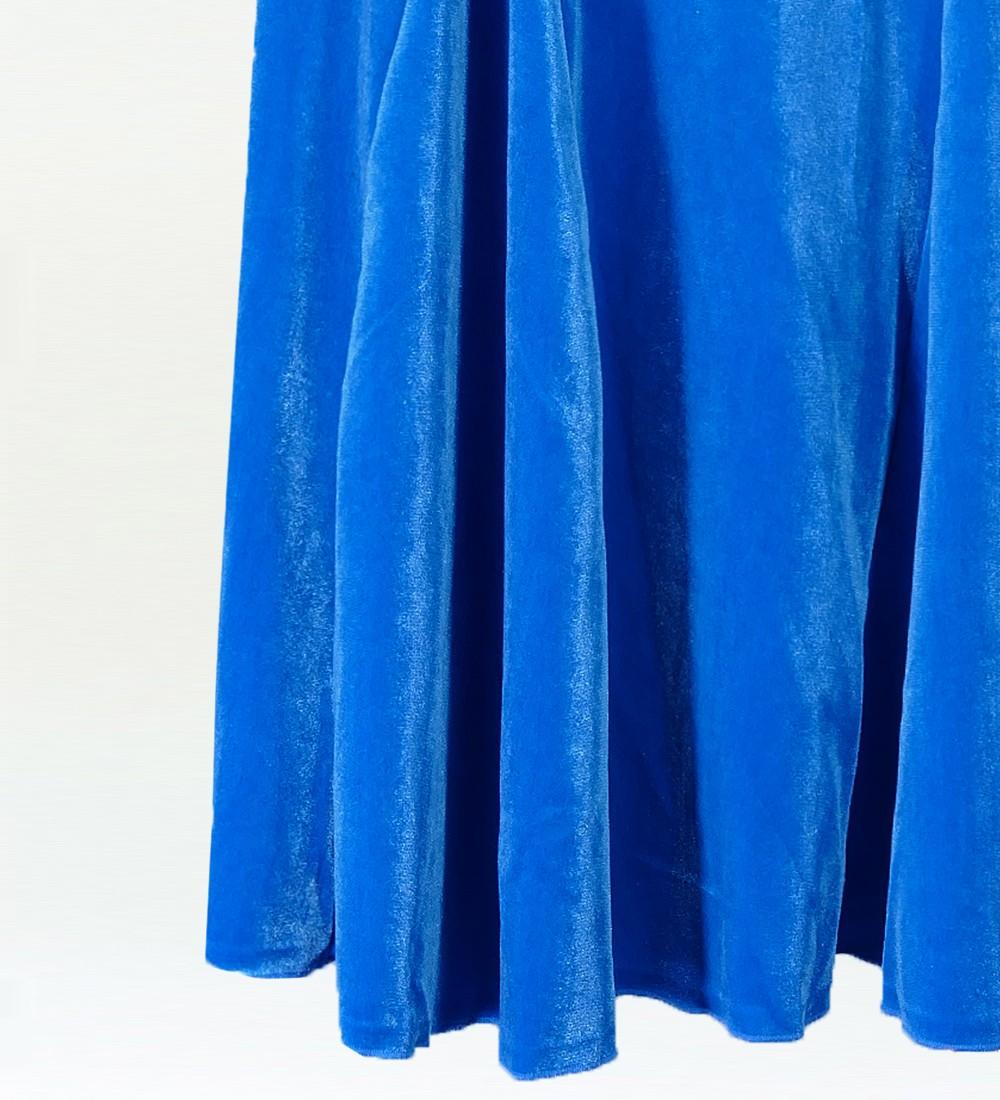 フラメンコ ベルベット マーメイド スカート ブルー 1905blb