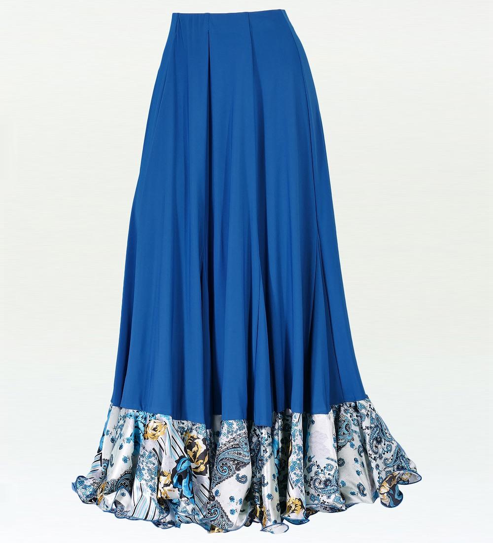フラメンコ ローズ&ペイズリーフリル ファルダスカート ブルー 1900bl