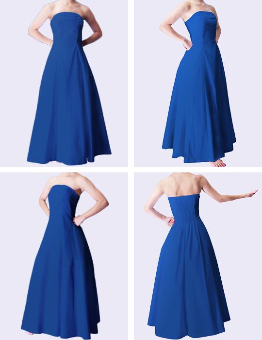 フラダンスムームー ストラップレスロングドレス ブルー 2550bl