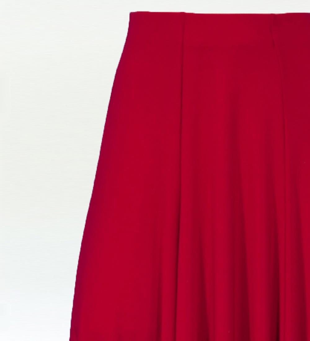 フラメンコ 無地 裾フリル ファルダ スカート レッド 2409rd