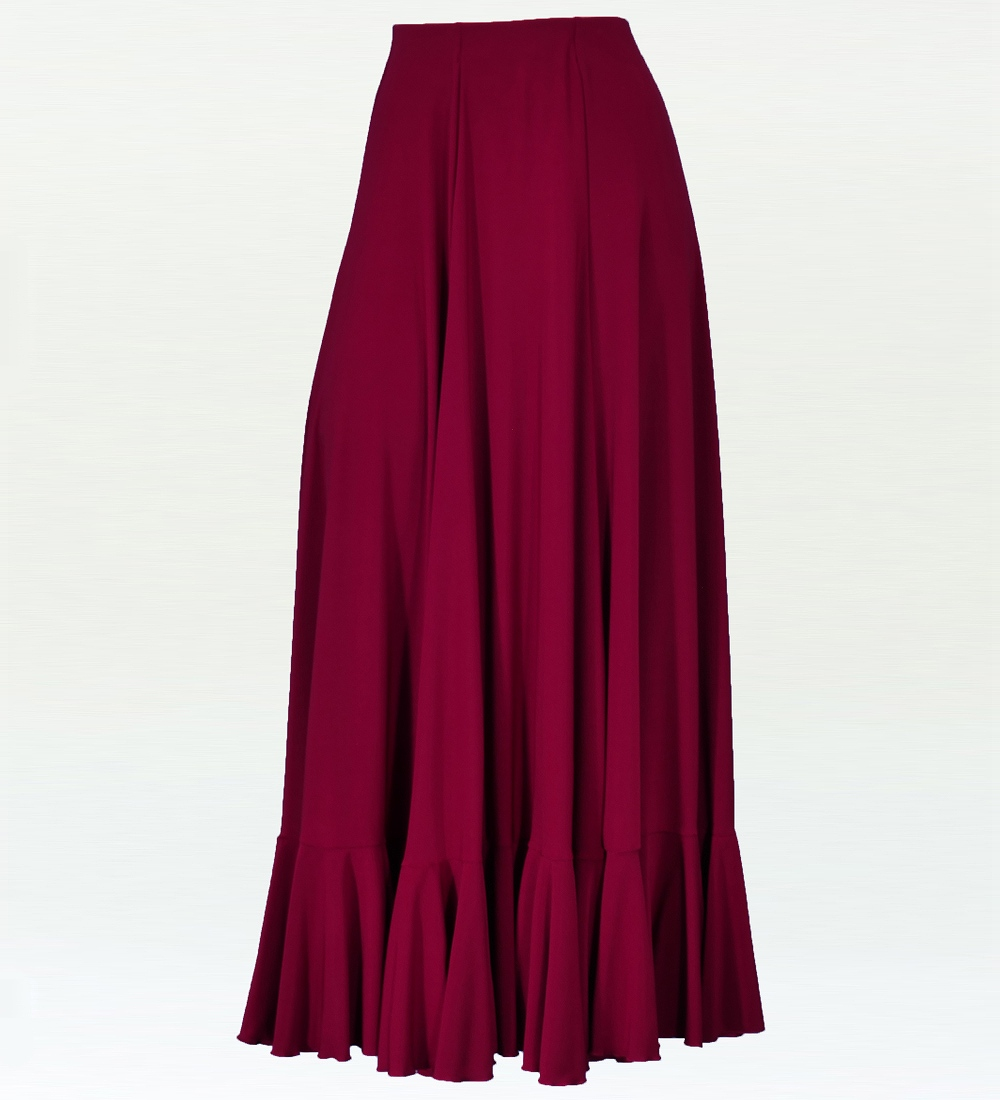 フラメンコ 無地 裾フリル ファルダ スカート ワイン 2409wi