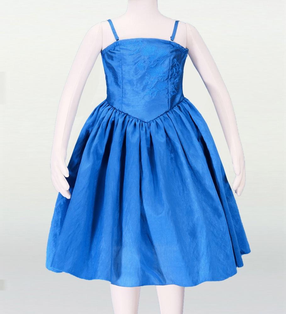 フラダンス ケイキシャンタン刺繍ミディ丈ドレス ブルー p2bl