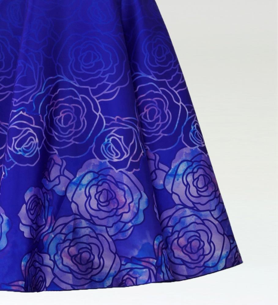 フラダンス ロケラニシャンタンロングドレス ブルー  2556bl