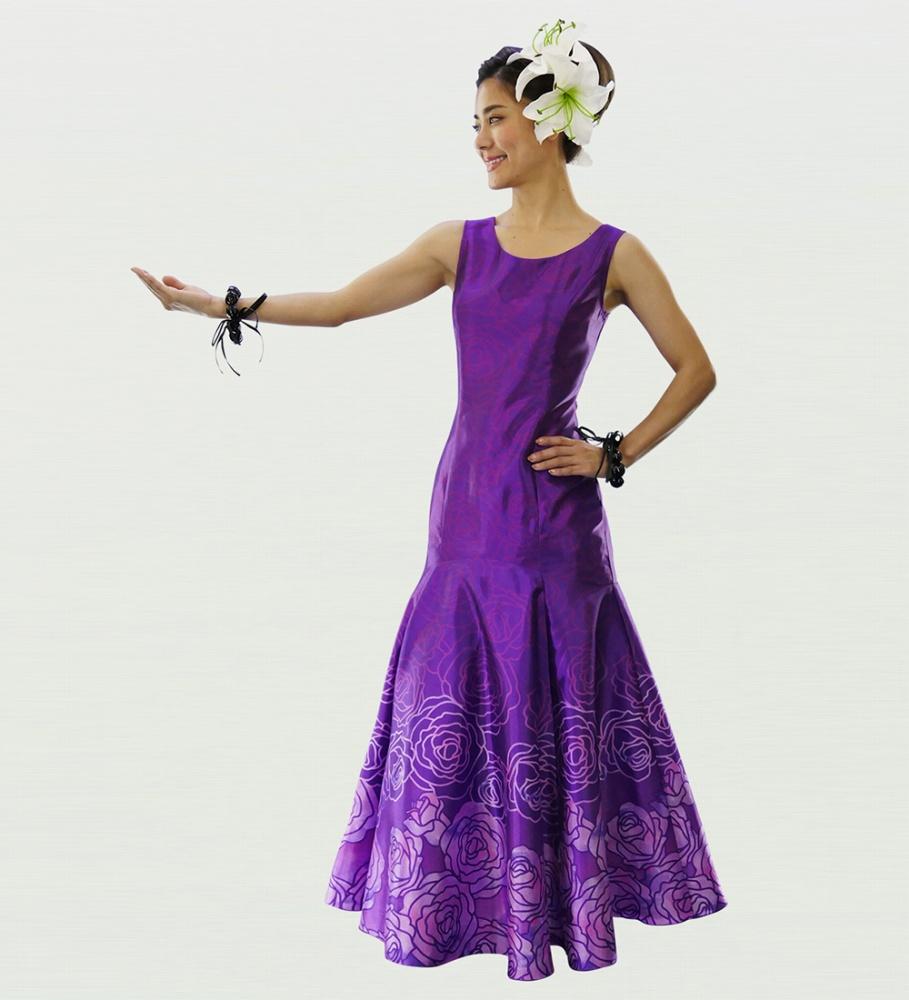 フラダンス ロケラニシャンタンロングドレス パープル 2556pu