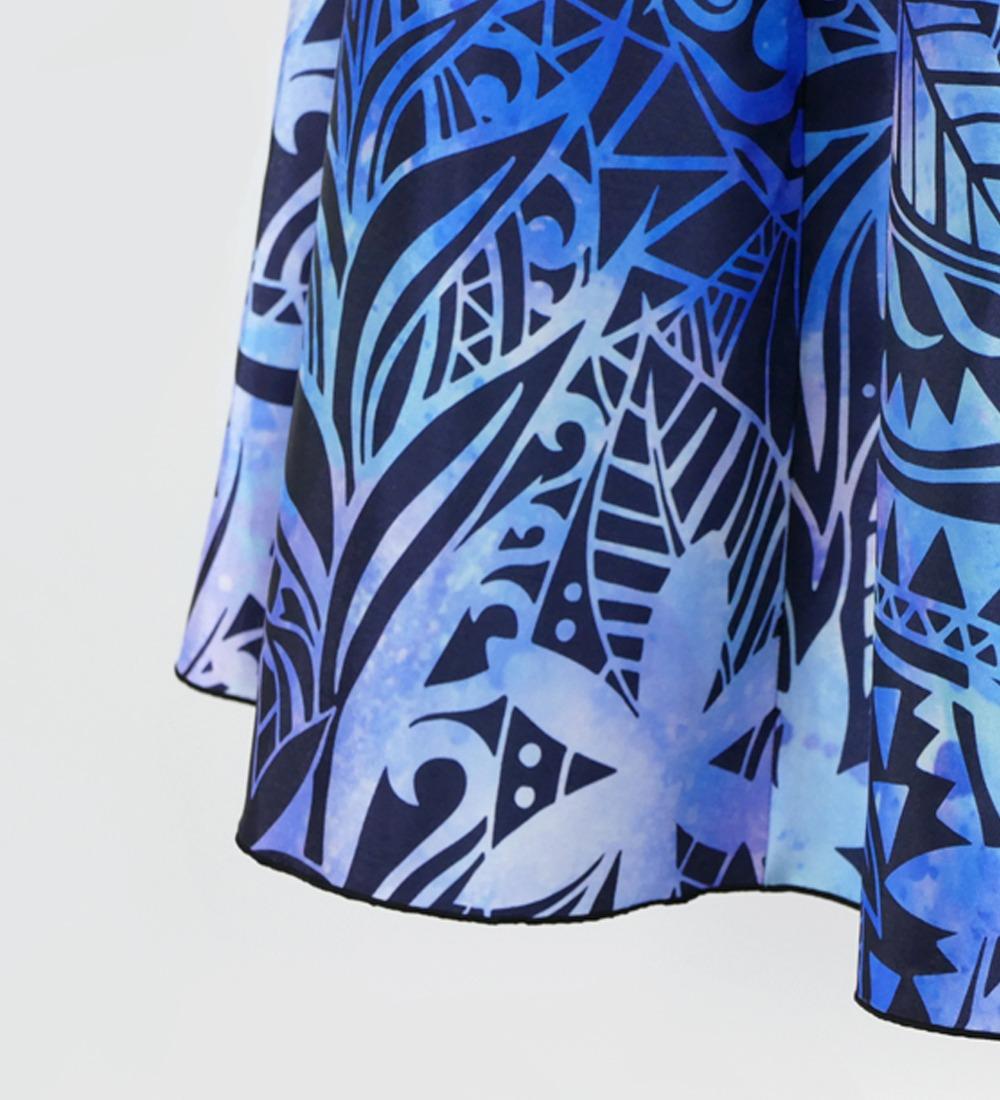 フラダンス ムームー ヘリコニア ロングドレス ブルー×パープル 2679bl