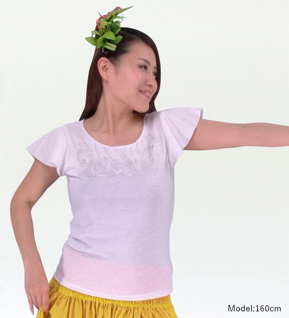 フレンチフリル Tシャツ 刺繍シルバー レフア ホワイト KD7sw