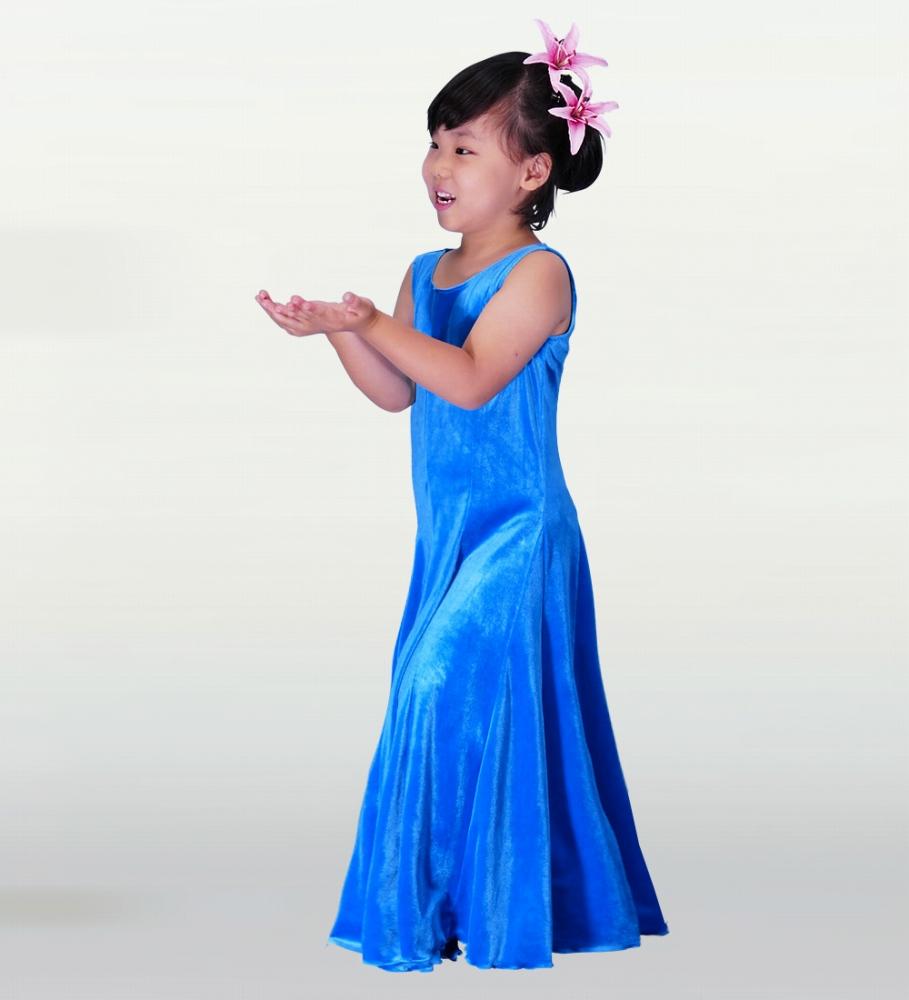 フラダンス ケイキ(キッズ) ベルベット 無地 ワンピースドレス ブルー p3bl