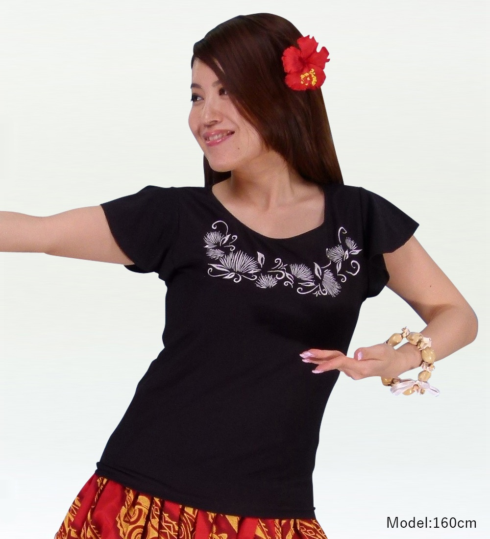 フレンチフリル Tシャツ 刺繍シルバー レフア ブラック KD7sb