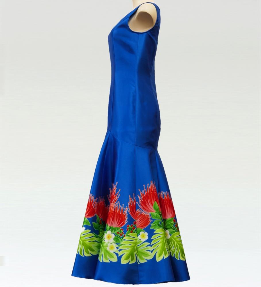 フラダンス レフアシャンタンロングドレス ブルー  2555bl