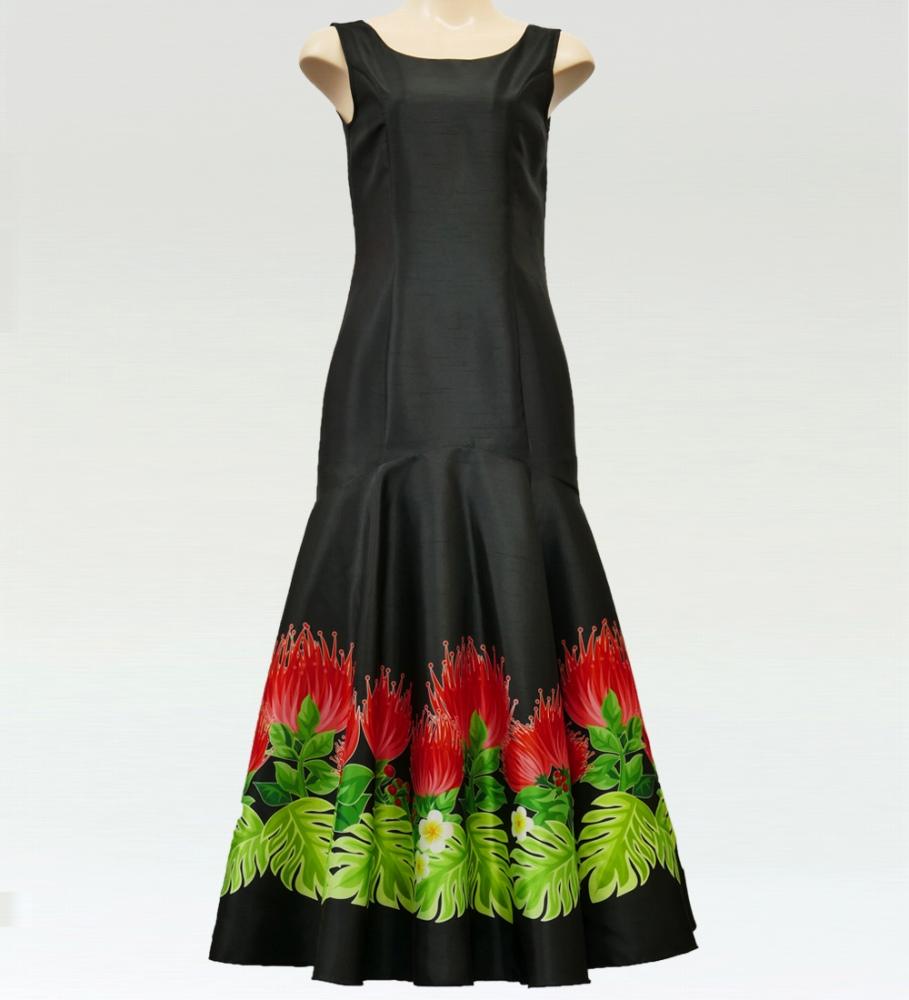フラダンス レフアシャンタンロングドレス ブラック 2555bk