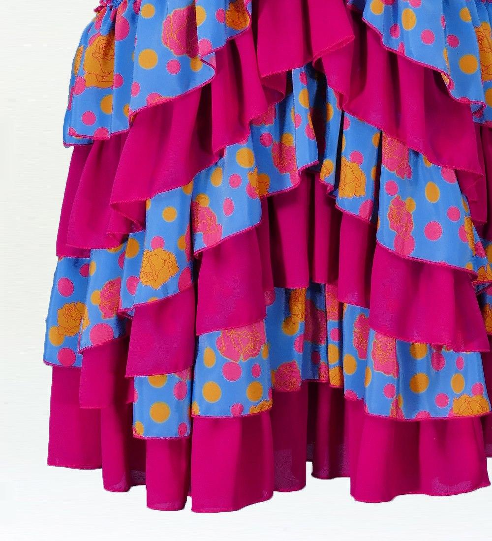 フラメンコ マーメード ローズ フリルファルダ スカート ブラック×ブルー 2350bbl