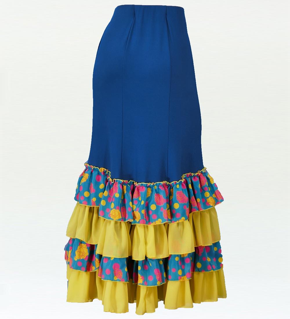 フラメンコ マーメード ローズ フリルファルダ スカート ブルー×グリーン 2350blg