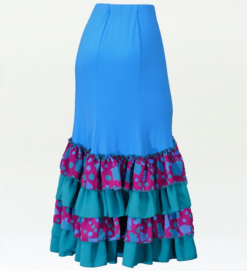 フラメンコ マーメード ローズ フリルファルダ スカート ライトブルー×パープル 2350lbp