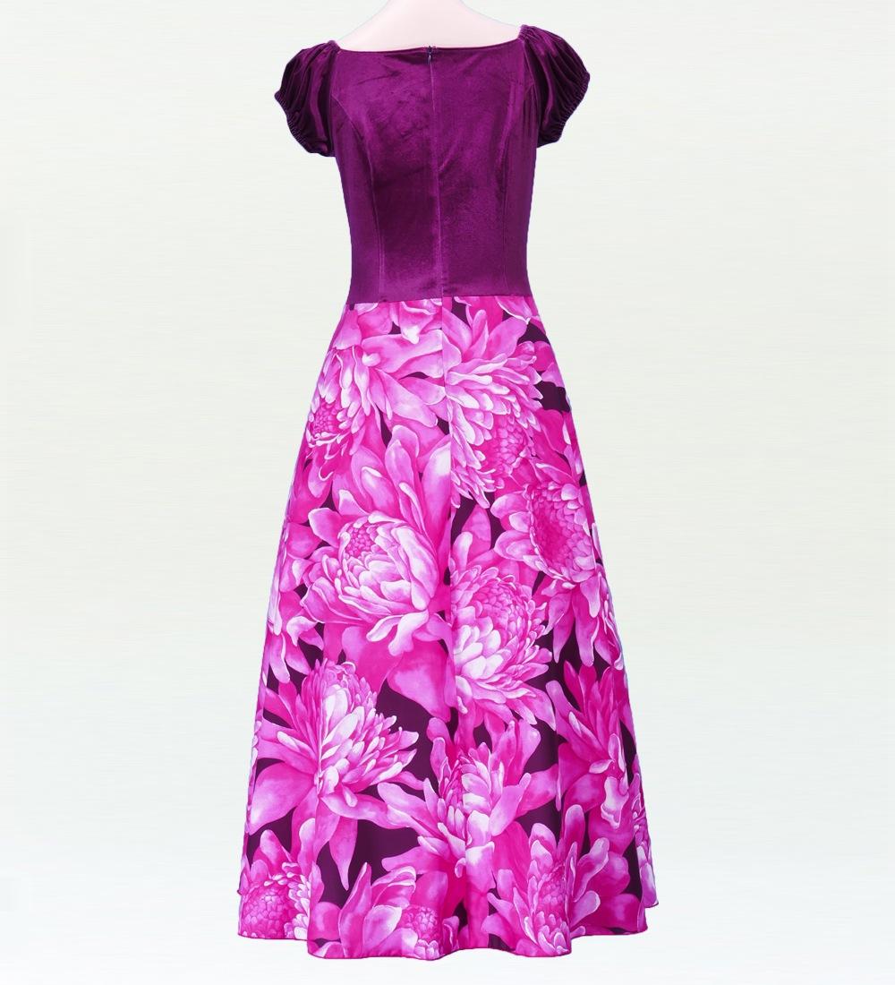 フラダンス ベロア×ハワイアンファブリックドレス  ピンク 2432pi