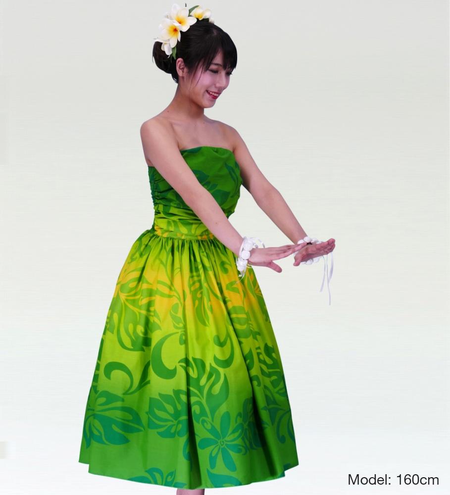 フラダンスムームー フロントドレープミディ丈ドレス グリーン 2484gr