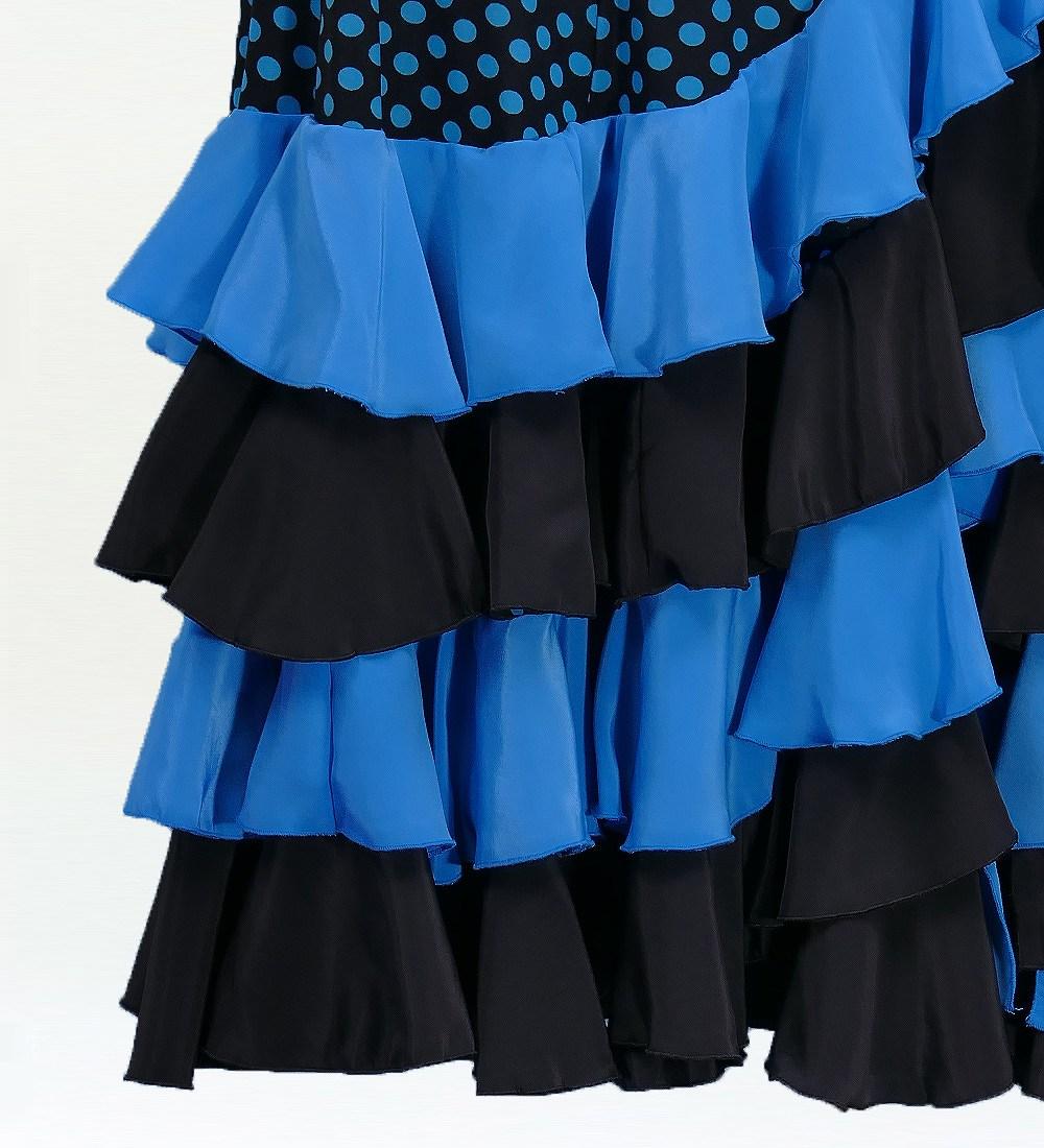 フラメンコ 水玉 フリル マーメイド ファルダ スカート ブルー 2355bl