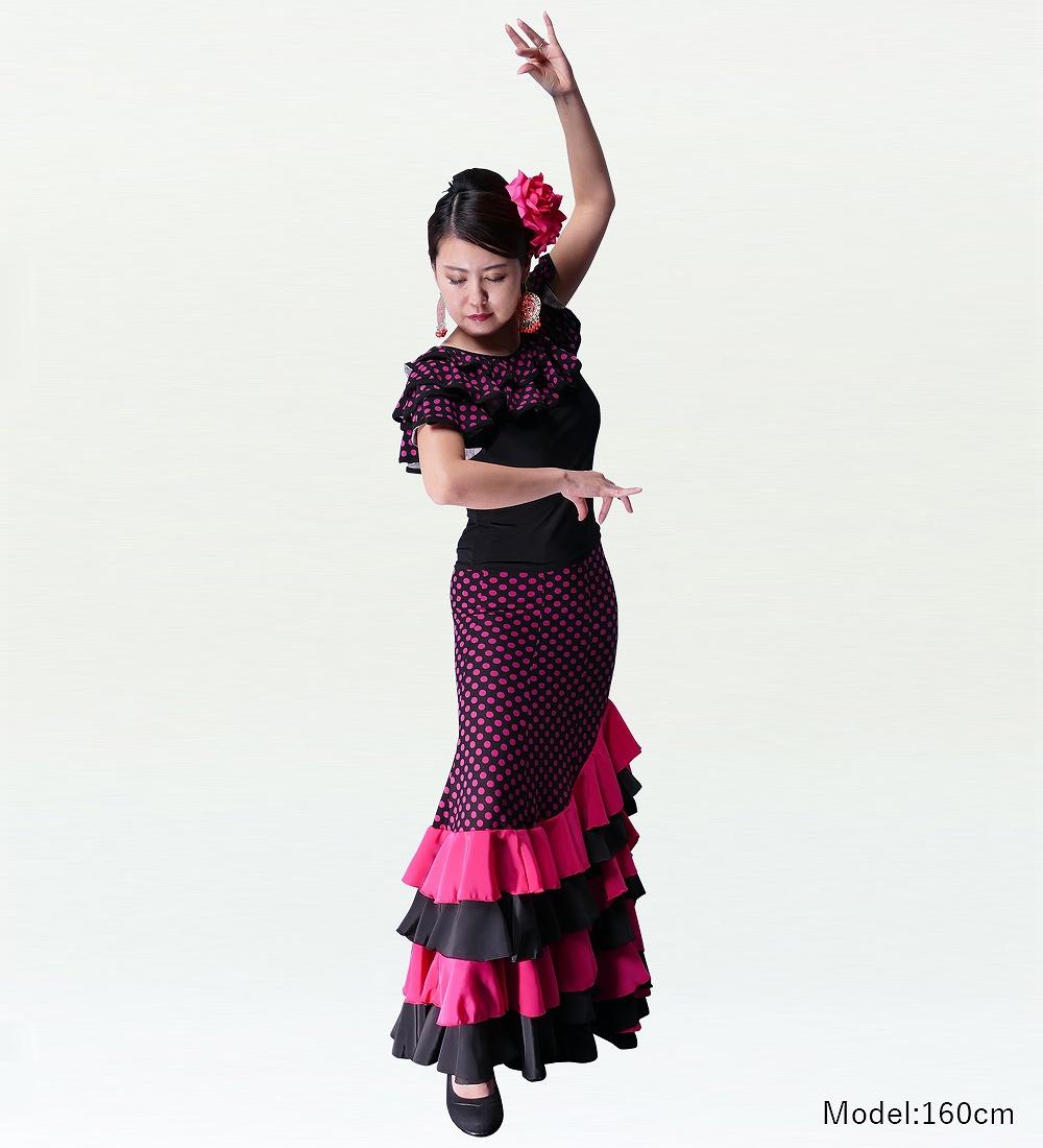 フラメンコ 水玉 フリル マーメイド ファルダ スカート ピンク 2355pi
