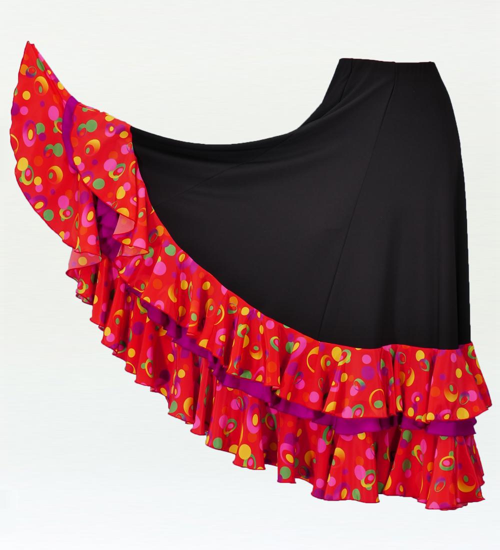 フラメンコ ローズ フリルファルダ スカート ブラック×レッド 2353br