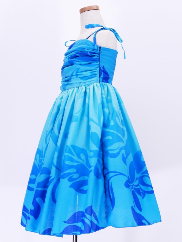 フラダンス ケイキ ドレープ ミディ丈ドレス ブルー p32bl