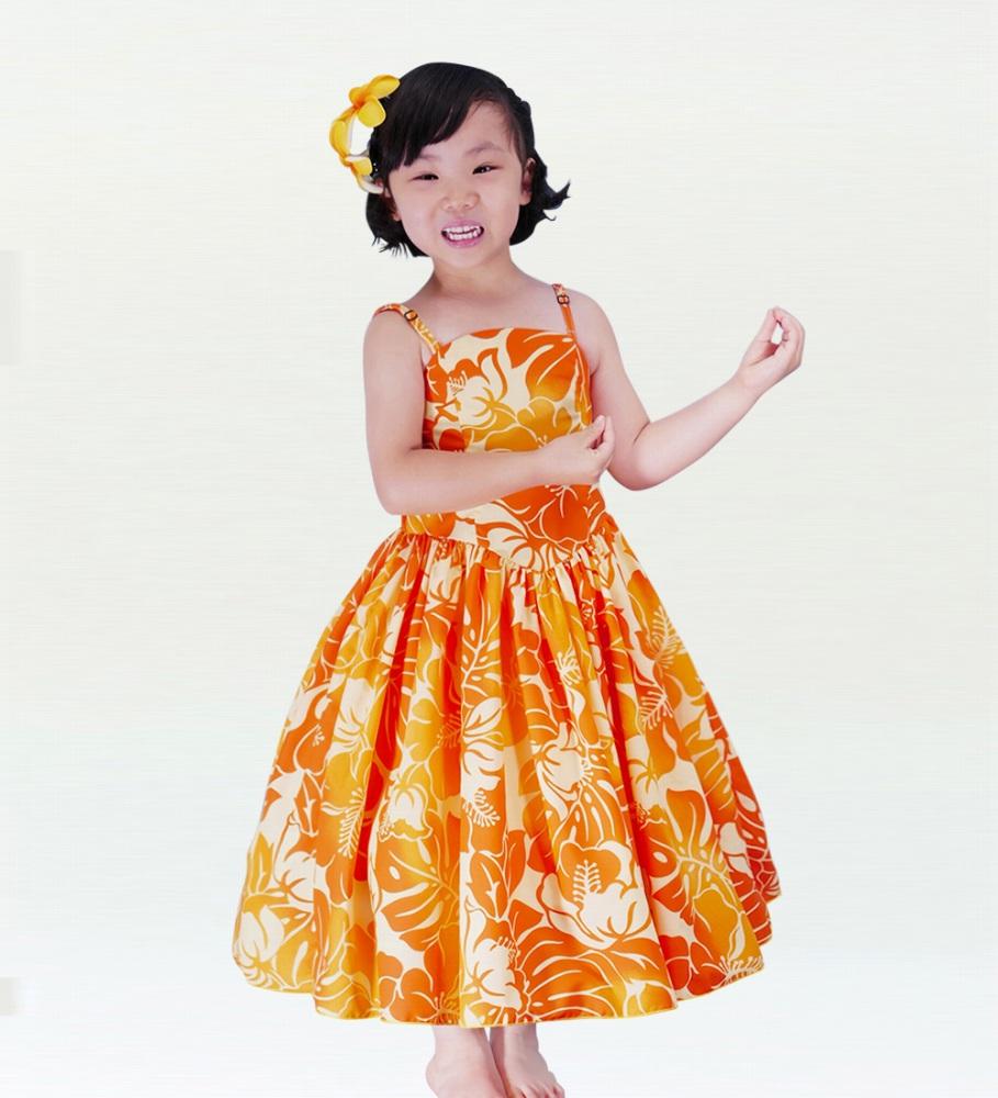 フラダンス ケイキ(ジュニア) ミディ丈 ムームードレス オレンジ p19or