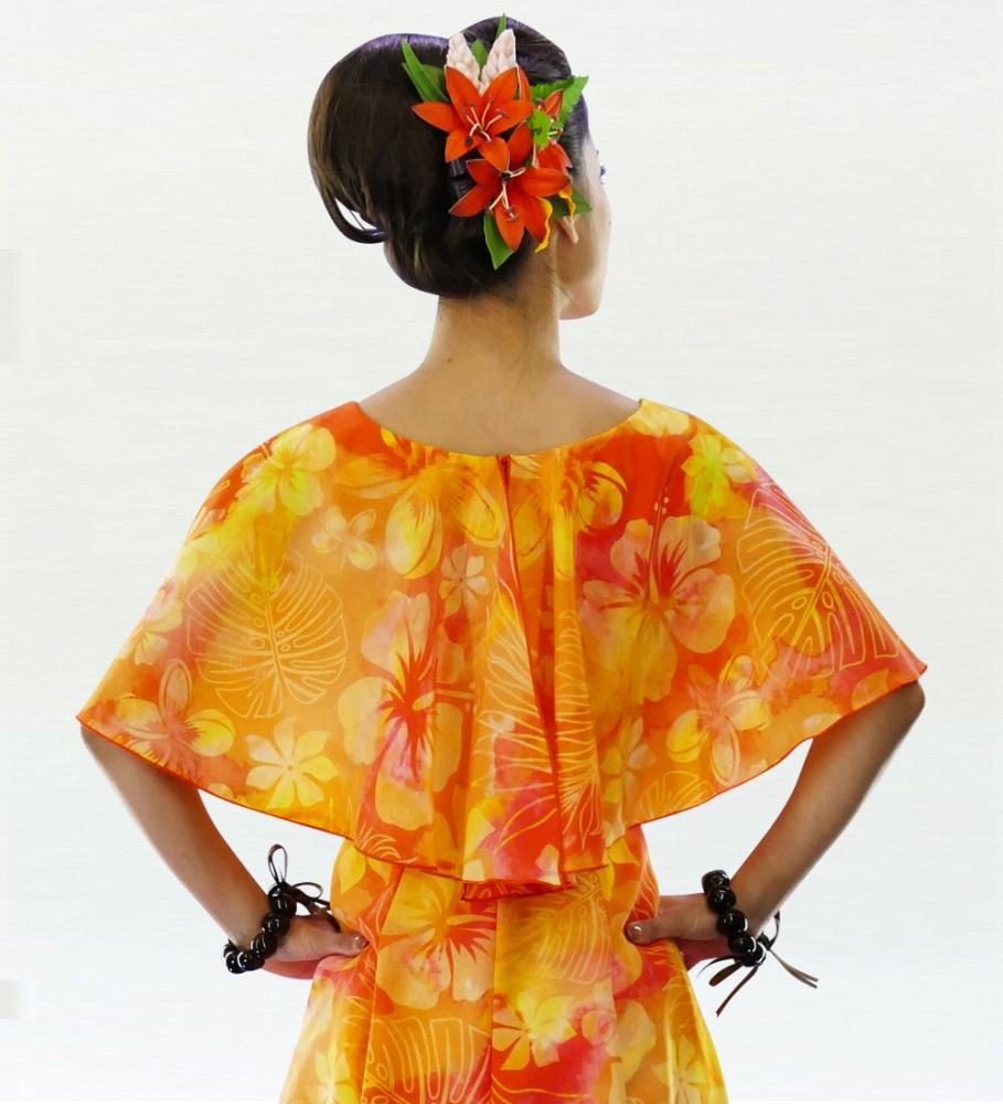 フラダンス ケープロングドレス オレンジ 2559or