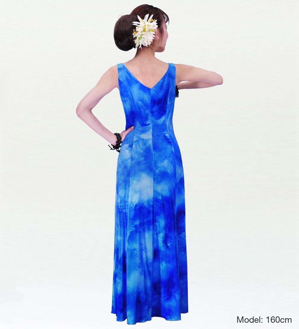 フラダンス ベルベット ボートネックドレス  ブルー 2430bl