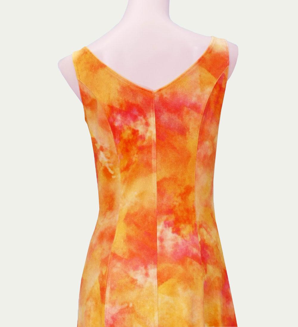フラダンス ベルベット ボートネックドレス  オレンジ 2430or