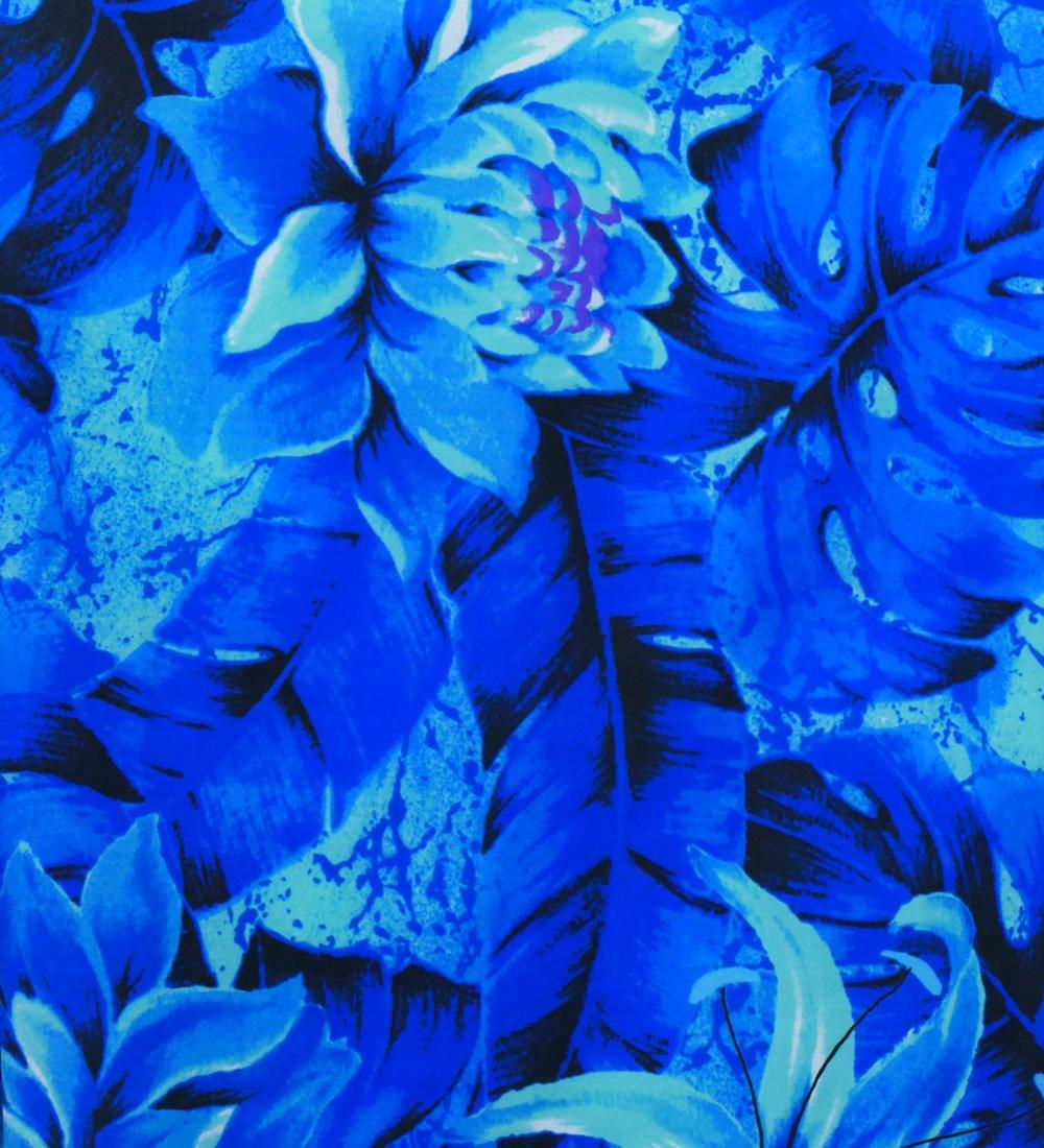 フラダンス パウスカート シングル バイカラー ブルー 2634
