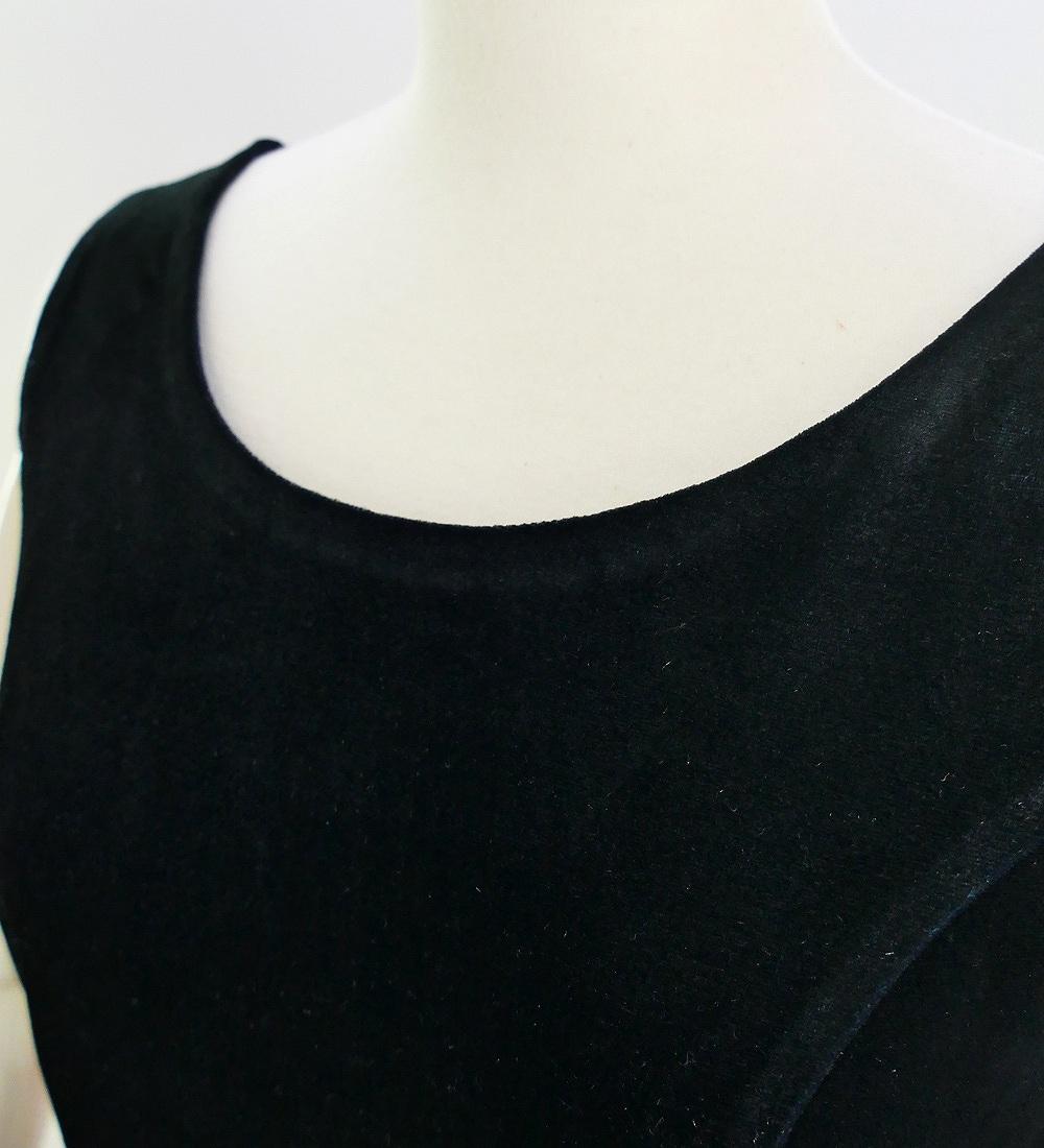 フラダンス ベロア×シャンタン ミディ丈ドレス ブラック 2641bk