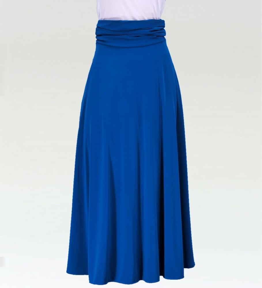 フラダンス無地 2wayロング丈フレアワンピース/スカート ブルー 2517bl