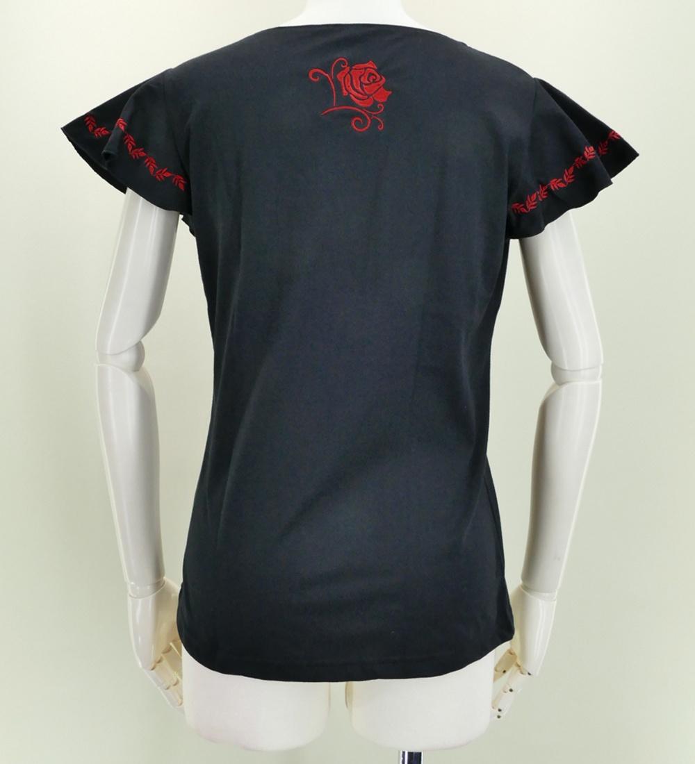 フレンチフリル Tシャツ 刺繍レッド ローズ ブラック KD8rbb