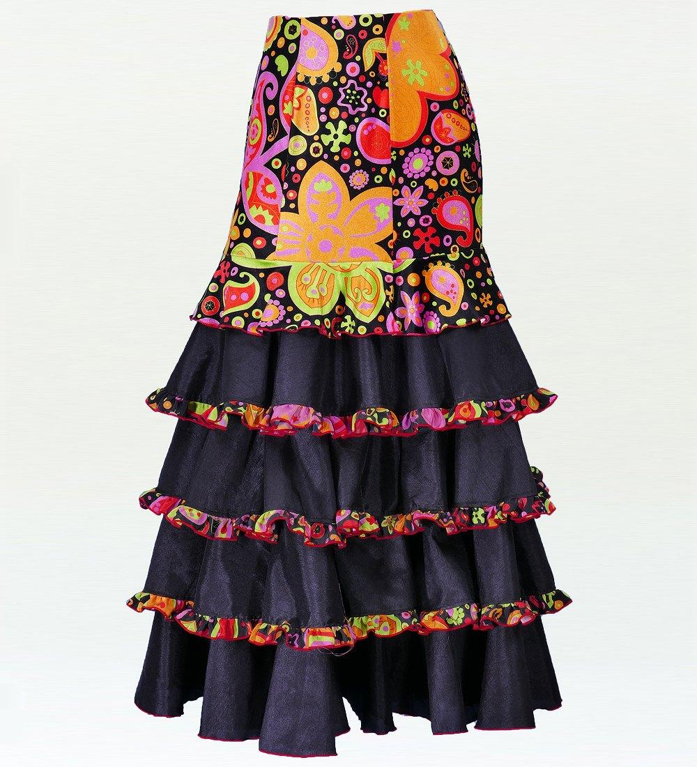 フラメンコ ベルベット マーメード ファルダ スカート ブラック 2431bk