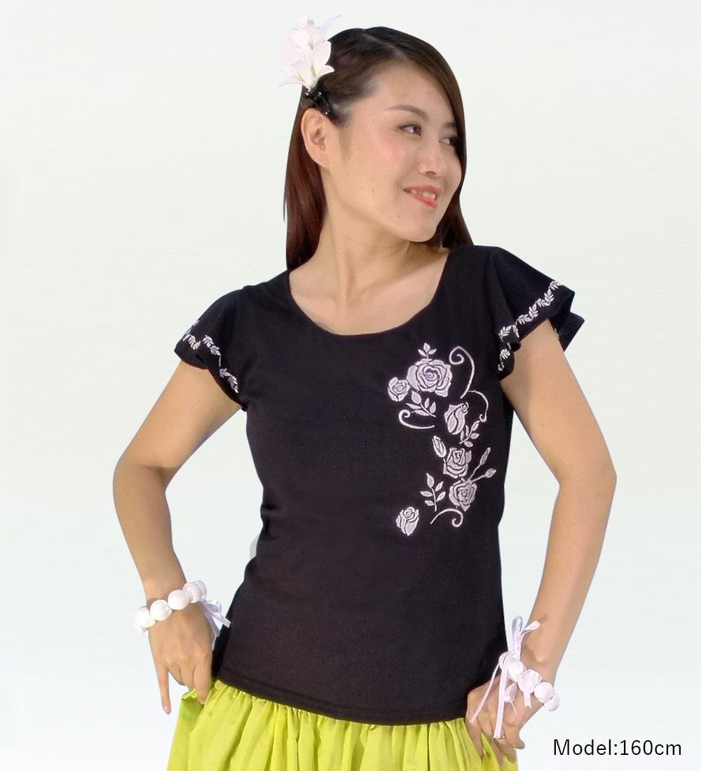 フレンチフリル Tシャツ 刺繍シルバー ローズ ブラック KD8sbb