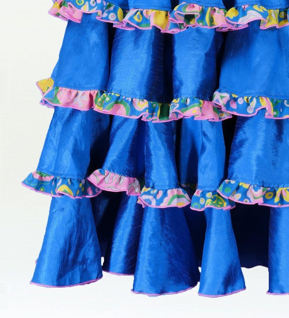 フラメンコ ベルベット マーメード ファルダ スカート ブルー 2431bl