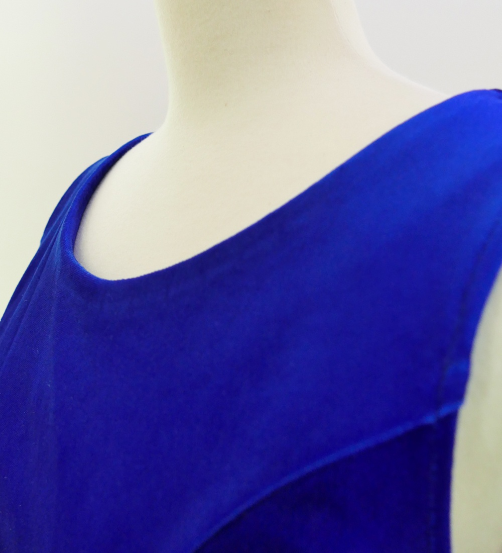 フラダンス ベロア×シャンタン ミディ丈ドレス ブルー 2641bl