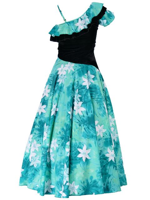 フラダンス ワンショルダー ベルベット斜め切り替え ドレス グリーン 1882g