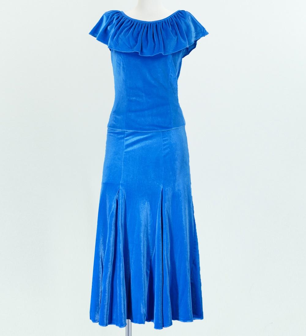 フラダンス ベルベット マーメードスカート&フリルブラウス セット ブルー 1906bla