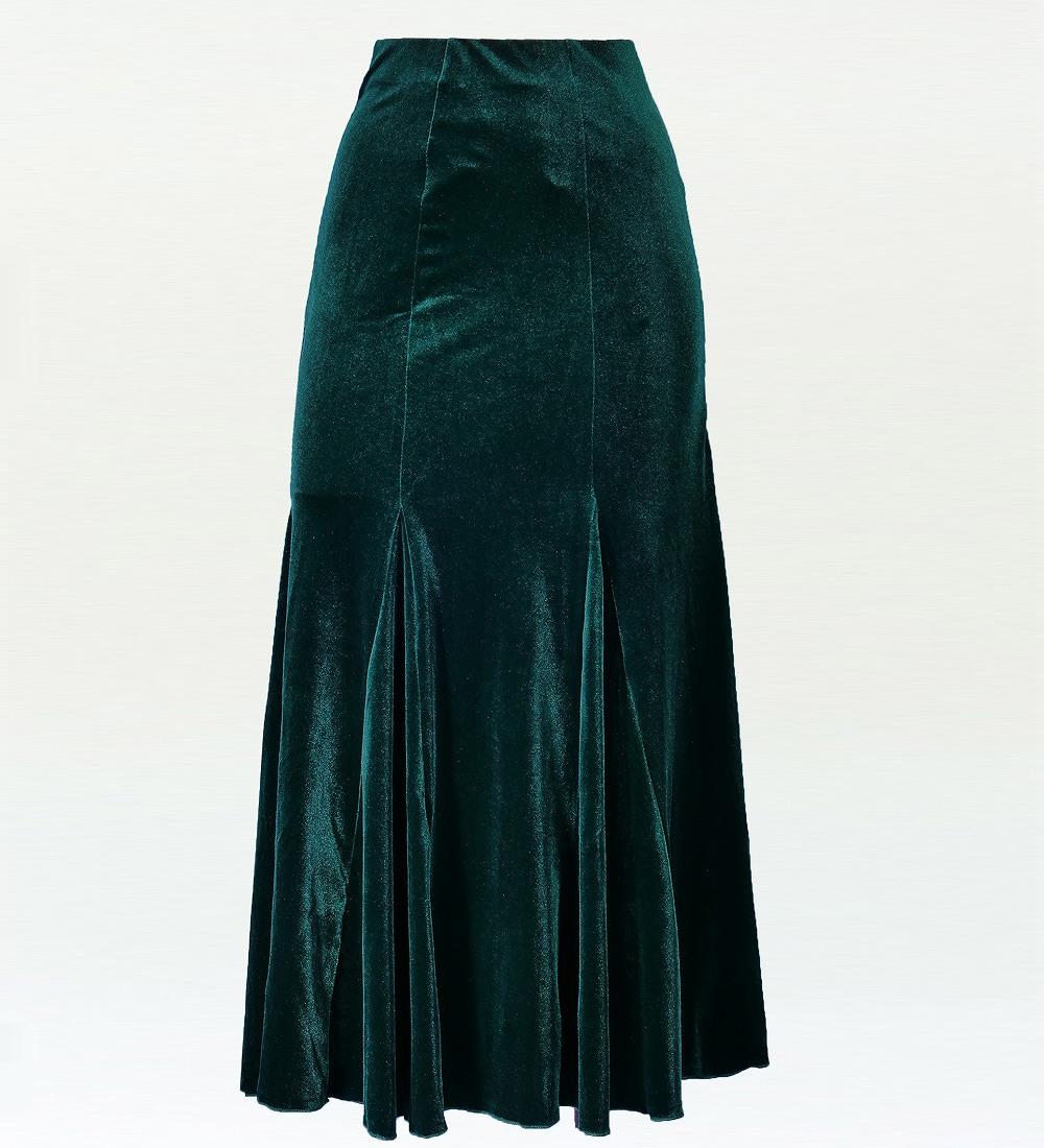 フラダンス ベルベット マーメードスカート&フリルブラウス セット グリーン 1906gra