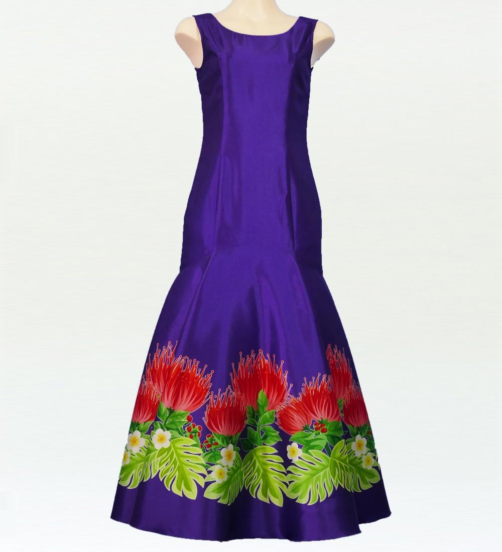フラダンス レフアシャンタンロングドレス ブルー  2555pu