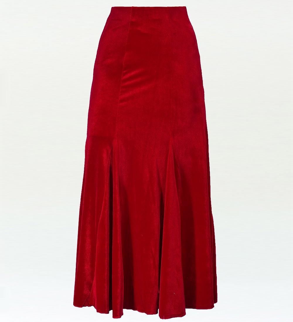 フラダンス ベルベット マーメードスカート&フリルブラウス セット レッド 1906rda
