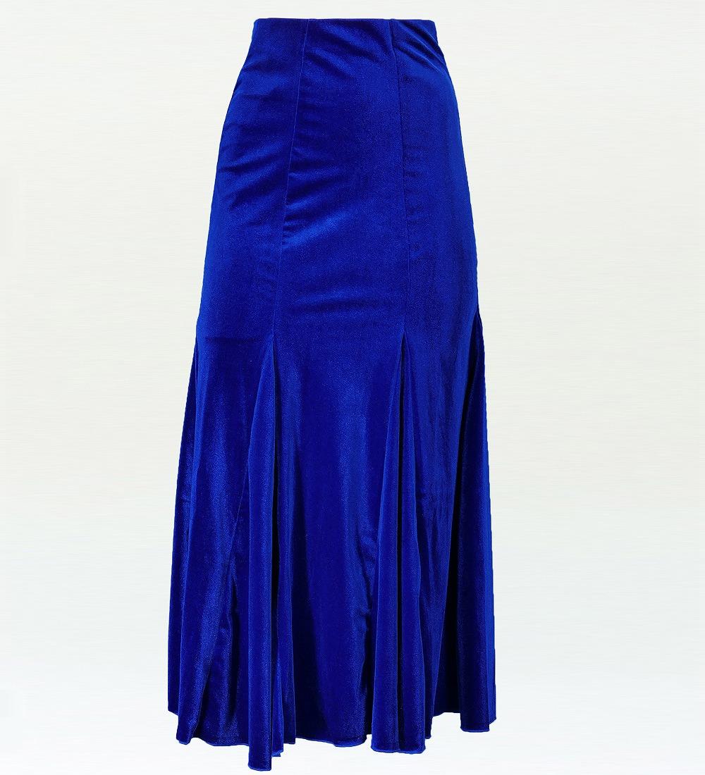 フラダンス ベルベット マーメードスカート&フリルブラウス セット ロイヤルブルー 1906rba