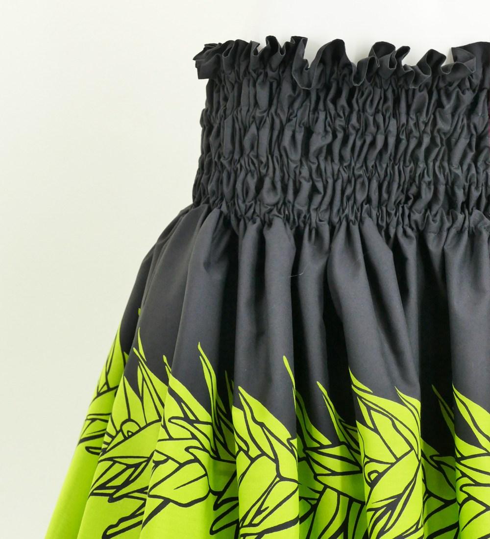 フラダンス パウスカート シングル73cm丈 ブラック×イエローグリーン 2653
