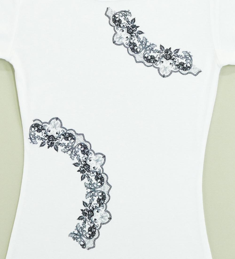 フラメンコ ローズレースプリント Tシャツ ホワイト 726w