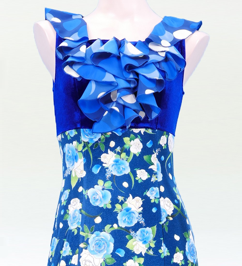Mサイズ フラメンコ 胸元フリル ベルベット×コシボ ワンピース ブルー×ブルー 2443blblf
