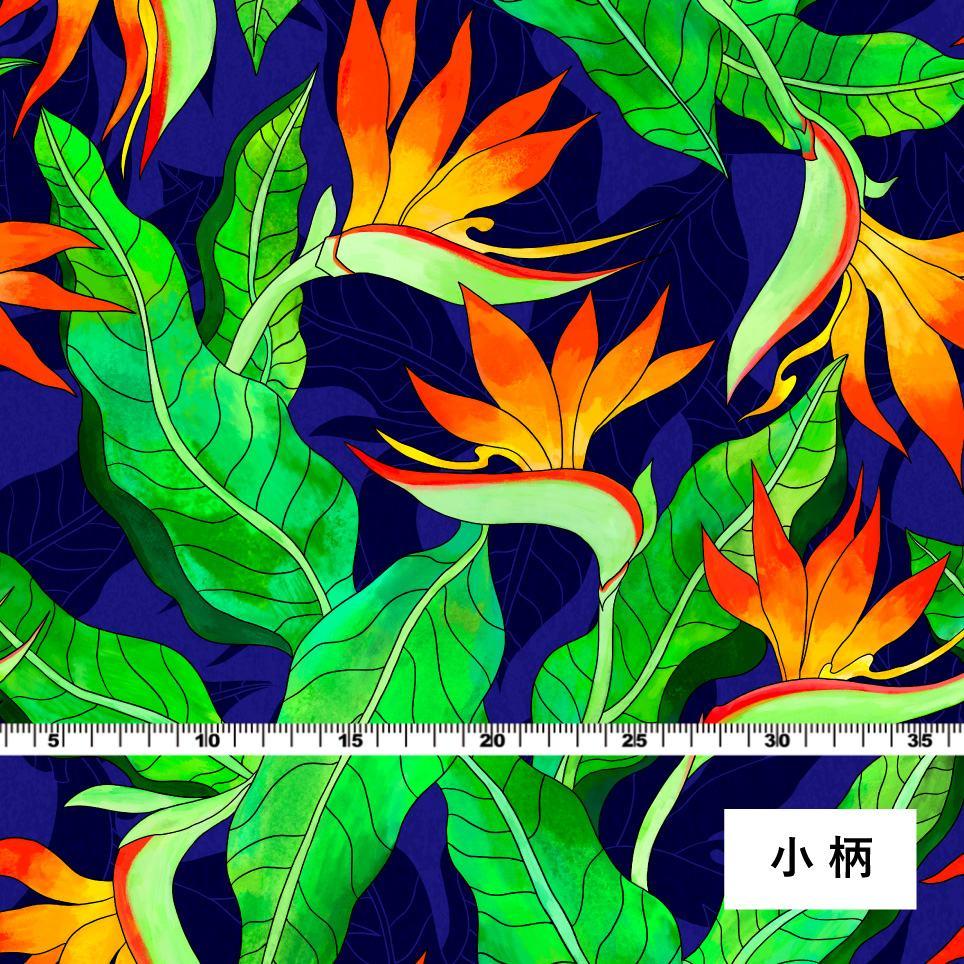 ハワイアン生地 ストレリチア柄 ストレッチベロア生地 ブルー KH-550-BL-V