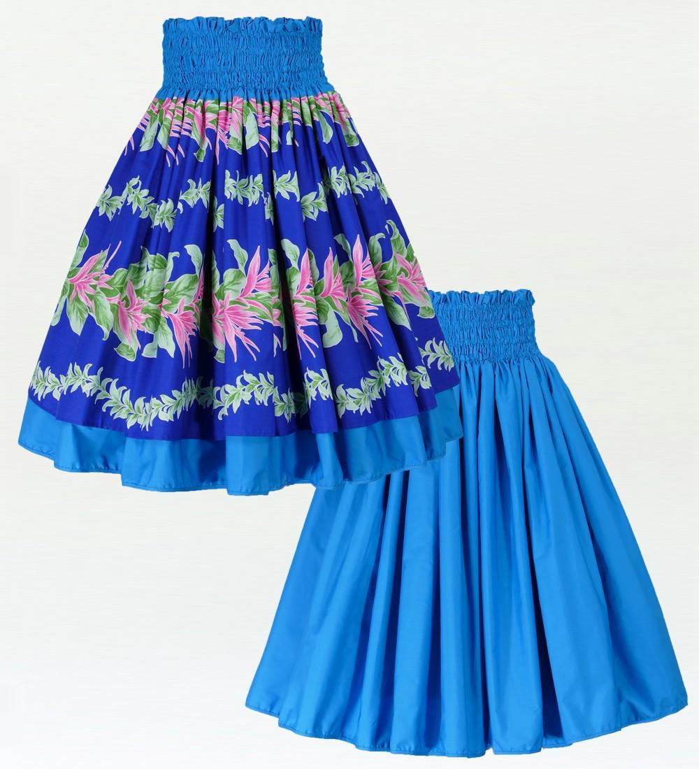 フラダンス ダブル リバーシブル パウスカート 73cm丈 ブルー 1960
